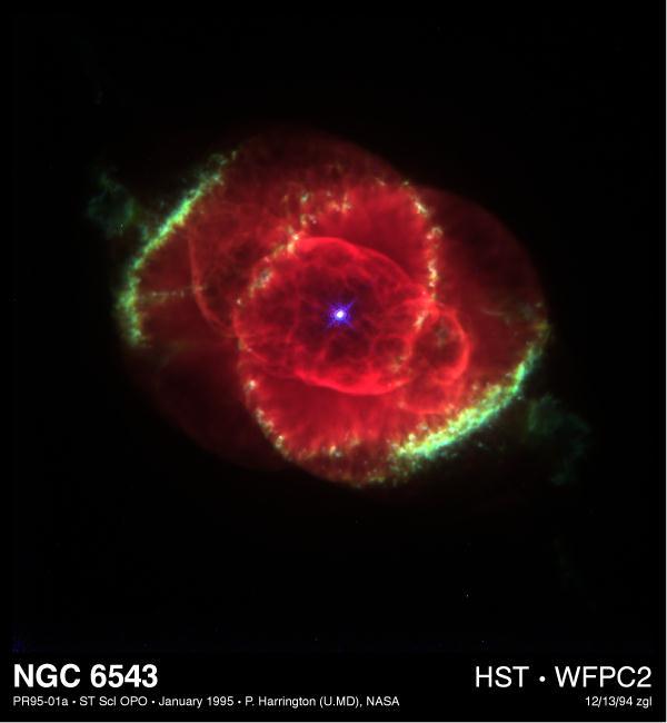 Nebulosa Olho de Gato (NGC 6543), em seu centro, uma anã branca.