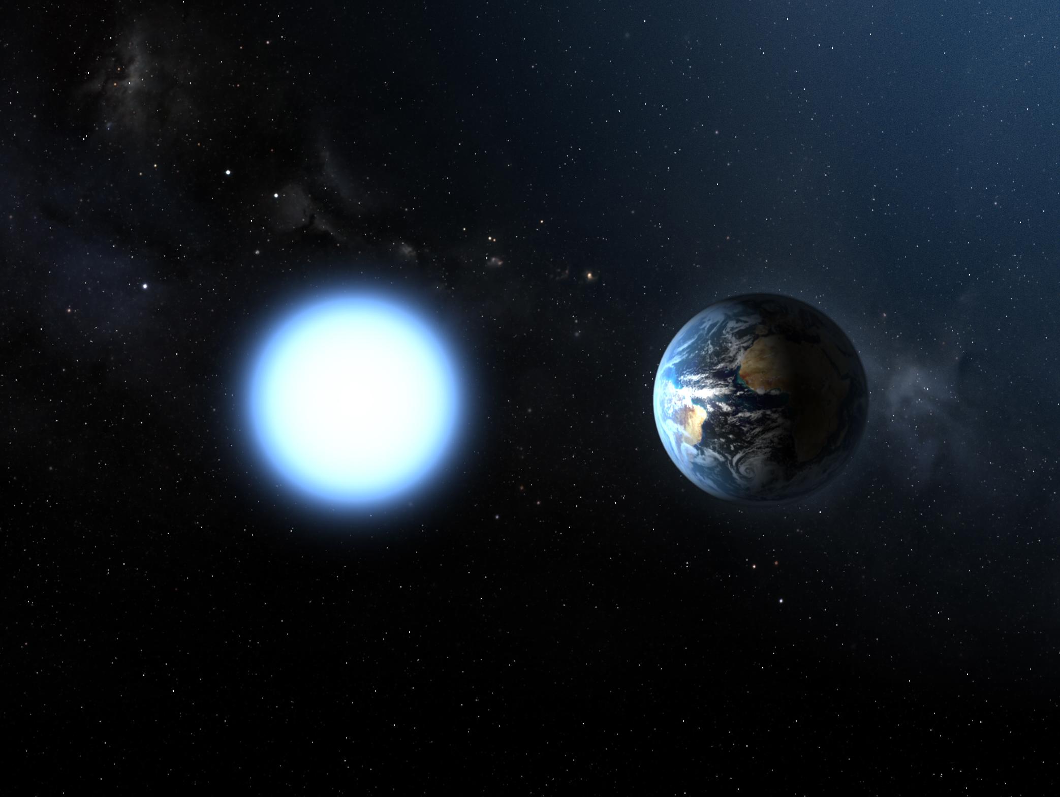 Sirius-B, comparada com a Terra. Apesar do tamanho, a estrela tem 0,98 massas solares.